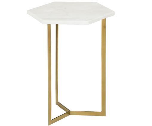Marmor-Beistelltisch Alys, Tischplatte: Marmor Naturstein, Gestell: Metall, beschichtet, Tischplatte: Weiß-grauer MarmorGestell: Goldfarben, glänzend, 40 x 50 cm