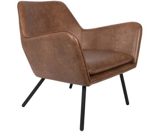 Kunstleren fauteuil Bon in industrial design, Bekleding: kunstleer (64% polyuretha, Poten: gelakt metaal, Bekleding: bruin, gestructureerd. Poten: zwart, 80 x 78 cm