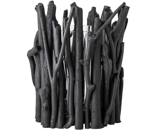 Świecznik Wooh, Drewno dryftowe, szkło, Czarny, Ø 33 x W 39 cm