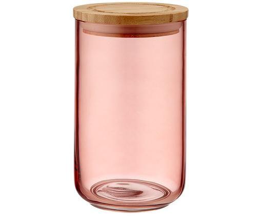 Contenitore in vetro Stak, Contenitore: vetro, Coperchio: legno di bambù, Pesca, bambù, Ø 10 x Alt. 17 cm
