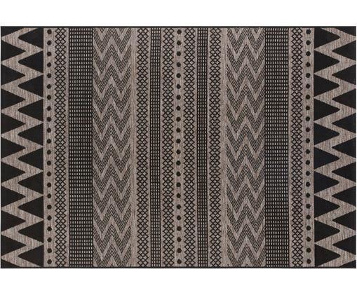 In- und Outdoorteppich Sidon mit grafischem Muster, Polypropylen, Beige, Schwarz, B 70 x L 140 cm (Größe XS)