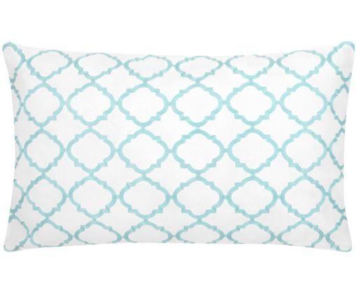 Poszewka na poduszkę z dzianiny Lona, 100% bawełna, Biały, turkusowy, S 30 x D 50 cm
