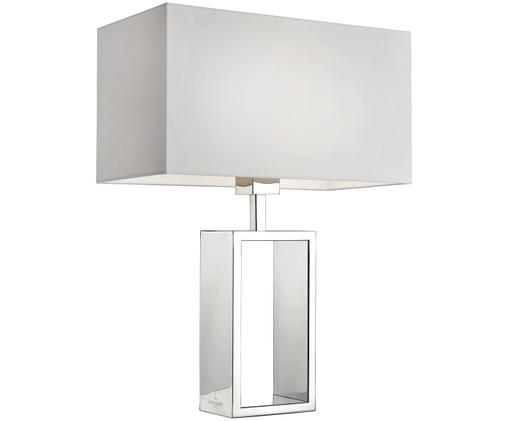 Tafellamp Shanghai, Lampvoet: hoogglanzend verchroomd e, Chroomkleurig, wit, 35 x 47 cm