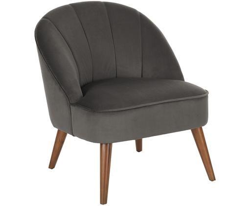Fotel z aksamitu Aya, Tapicerka: aksamit (poliester) 30 00, Nogi: drewno brzozowe, lakierow, Tapicerka: ciemnoszary Nogi: drewno brzozowe, S 73 x G 64 cm