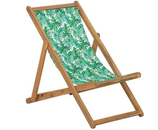 Leżak Zoe, Stelaż: drewno akacjowe, olejowan, Zielony, biały, S 59 x G 91 cm