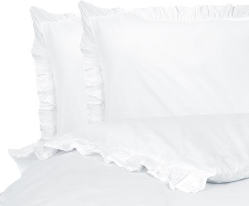 Perkal-Bettwäsche Florence mit Rüschen, Webart: Perkal Fadendichte 180 TC, Weiß, 200 x 200 cm