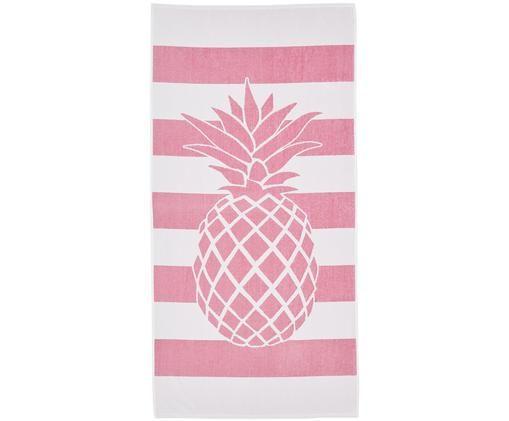 Ręcznik plażowy Anas, Bawełna Niska gramatura 380 g/m², Różowy, biały, S 80 x D 160 cm