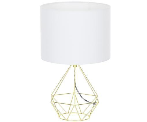 Tafellamp Agata, Wit, goudkleurig