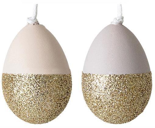 Komplet wiszących dekoracji wielkanocnych Shine, 2 elem., Biały, odcienie złotego, Ø 3 x W 4 cm