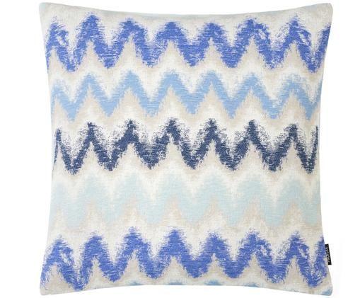 Kissenhülle Pari mit Zickzack-Muster, Polyester, Hellbeige, Blautöne, 45 x 45 cm