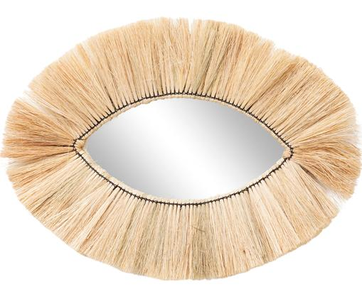 Handgefertigter Wandspiegel Makula Eye, Spiegelfläche: Spiegelglas, Rahmen: Seegras, Seegras, 70 x 44 cm