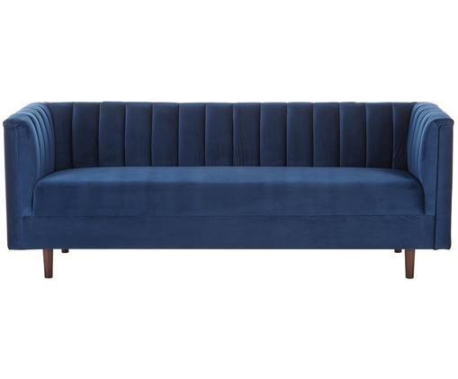 Canapé en velours Paula (3places), Revêtement: bleu Pieds: bois d'hévéa, laqué foncé