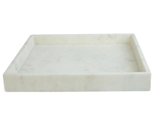 Bandeja decorativa de mármol Ciaran, Mármol, Blanco, An 30 x F 30 cm