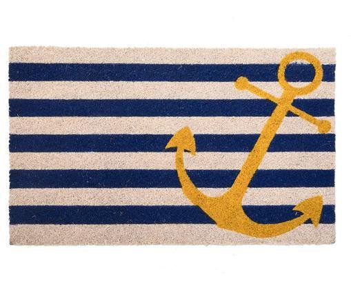 Wycieraczka Yellow Anchor, Włókno kokosowe, Jasny beżowy, niebieski, żółty, S 45 x D 75 cm