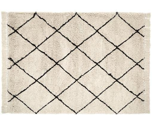 Ručně všívaný koberec Naima, Béžová, černá