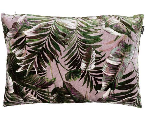 Poszewka na poduszkę z aksamitu Foglia, Pudrowy różowy, zielony