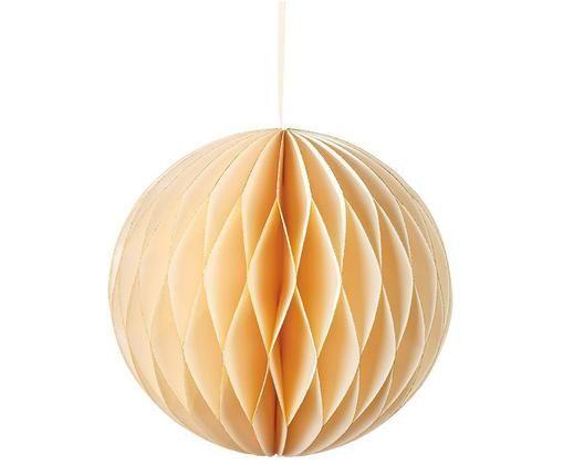 Pompon Honeycomb, Papier, bawełna, Odcienie kremowego z brokatem, Ø 15 x W 15 cm