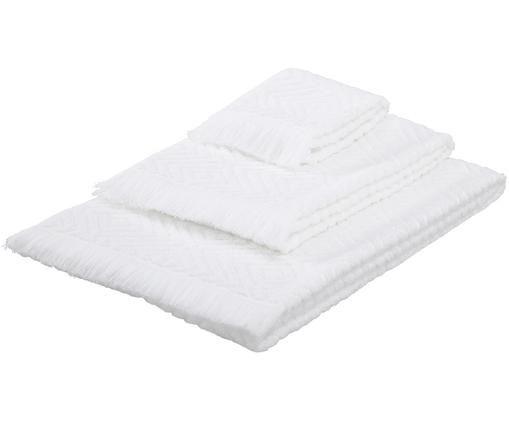 Set asciugamani Jacqui, 3 pz., Bianco