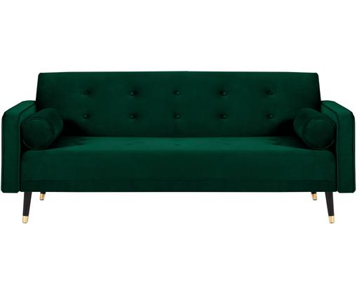 Fluwelen slaapbank Gia (3-zits), Bekleding: polyesterfluweel, Frame: massief grenenhout, Poten: gelakt beukenhout, Donkergroen, B 212 x D 93 cm