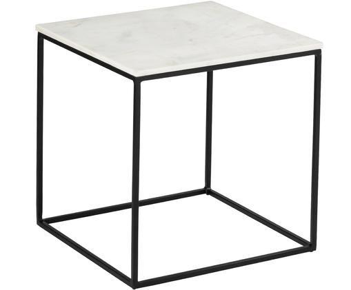 Marmor-Beistelltisch Alys, Tischplatte: Marmor Naturstein, Gestell: Metall, pulverbeschichtet, Tischplatte: Weiß-grauer Marmor Gestell: Schwarz, matt, 50 x 50 cm