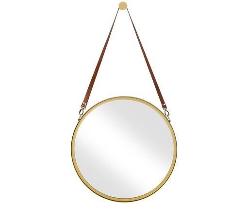 Specchio da parete rotondo Liz, Superficie dello specchio: lastra di vetro, Cinturino sospensione: pelle, Oro, Ø 60 cm
