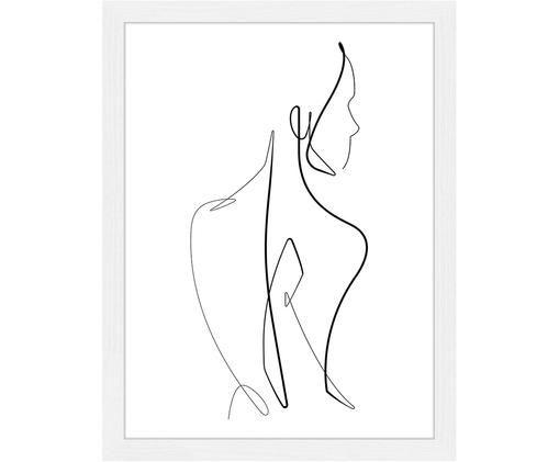 Oprawiony druk cyfrowy Body Line Art, Rama: biały