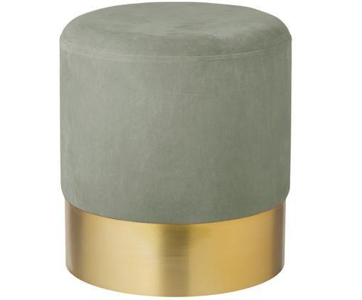 Puf z aksamitu Harlow, Tapicerka: aksamit bawełniany, Szałwiowy zielony, odcienie złotego, Ø 38 x W 42 cm