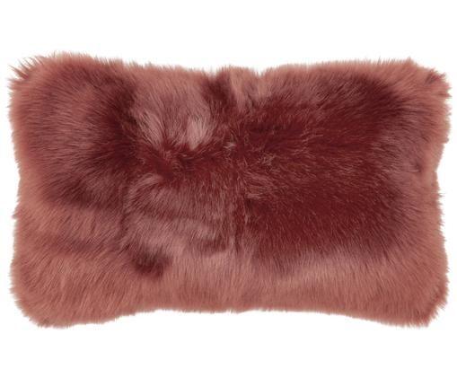 Funda de cojín de piel sintética Mathilde, Parte delantera: 67%acrilico, 33%poliést, Parte trasera: 100%poliéster, Terracota, An 30 x L 50 cm