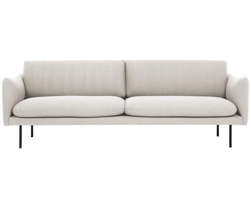 Sofa Moby (3-Sitzer), Bezug: Polyester 60.000 Scheuert, Gestell: Massives Kiefernholz, Füße: Metall, pulverbeschichtet, Beige, B 220 x T 95 cm