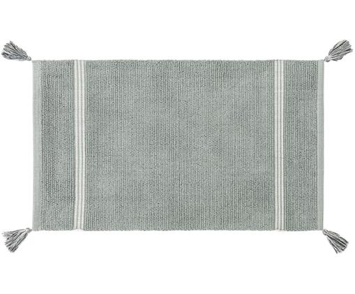 Tappeto bagno con nappe Dust, Cotone, Menta, Larg. 50 x Lung. 85 cm