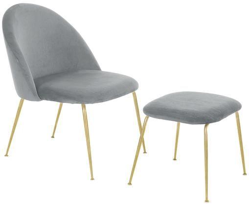 Samt-Lounge-Set Villum, 2-tlg., Bezug: Samt (Polyester) 25.000 S, Füße: Metall, gebürstet, Bezug: Samt (Polyester) 25.000 S, Füße: Metall, gebürstet, Bezüge: HellgrauFüße: Goldfarben, matt, Sondergrößen