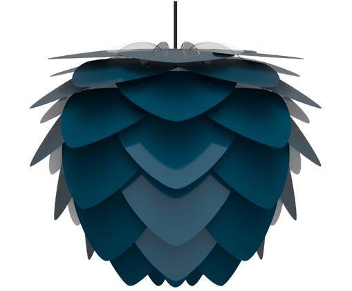 Lámpara de techo Aluvia, Pantalla: aluminio pintado, Fijación: plástico, Anclaje: acero pintado, Cable: cubierto en tela, Azul petróleo, Ø 40 x Al 30 cm