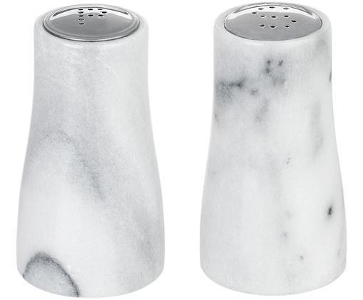 Komplet  solniczki i pieprzniczki z marmuru Marbell, 2 elem., Biały, marmurowy