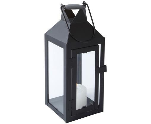Laterne Noir, Metall, Glas, Schwarz, 10 x 26 cm