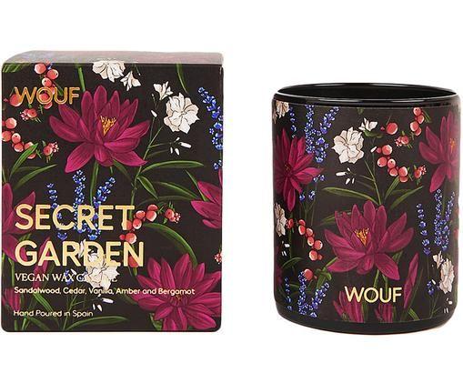 Duftkerze Secret Garden (Sandelholz, Zedernholz, Vanille), Vegetarisches Wachs, Glas, Schwarz, Mehrfarbig, Ø 8 x H 10 cm