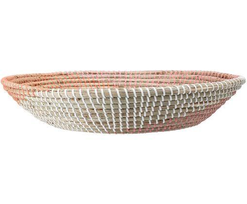 Kosz do przechowywania Wallia, Trawa morska, Blady różowy, biały, trawa morska, Ø 44 x W 9 cm