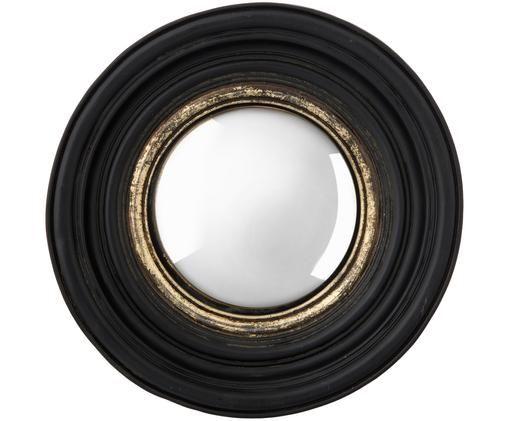 Espejo de pared redondo Resi, Espejo: cristal, Negro, dorado, Ø 26 cm