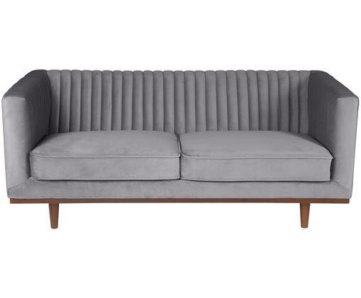 Samt-Sofa Dante (2-Sitzer), Bezug: DunkelgrauFüße: Gummibaumholz