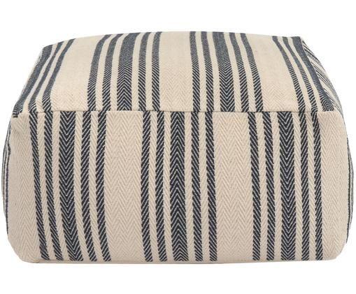 Poduszka podłogowa Puket, Ciemny niebieski, biały, S 60 x W 30 cm