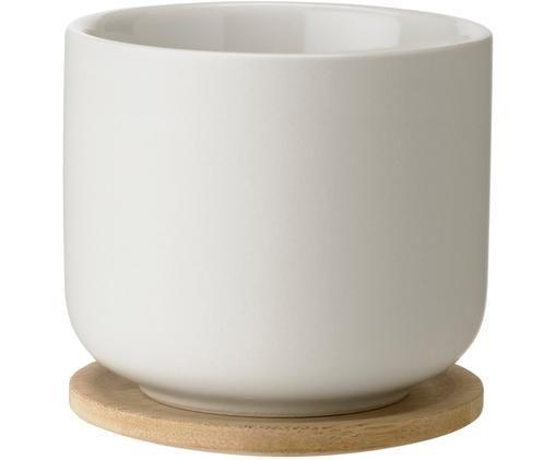 Becher Theo mit Deckel/Untersetzer in Weiß matt/glänzend, Becher: Steingut, Untersetzer: Bambus, Gebrochenes Weiß, Bambus, Ø 9 x H 9 cm