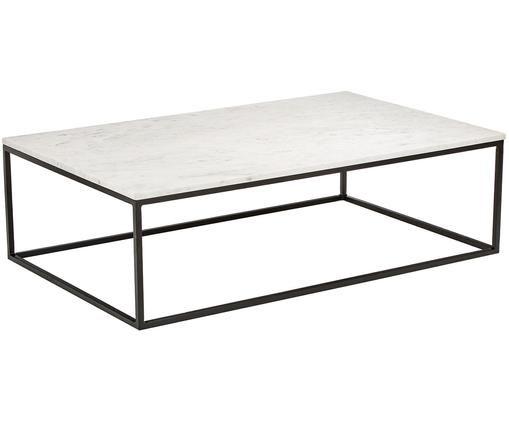 Marmor-Couchtisch Alys, Tischplatte: Marmor Naturstein, Gestell: Metall, pulverbeschichtet, Weißer Marmor, Schwarz, B 120 x T 75 cm
