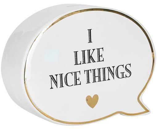 Spardose Nice Things, Keramik, Weiß, Schwarz, 18 x 14 cm