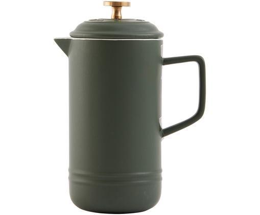 Kaffeezubereiter Monte, Kaffeezubereiter: Steingut, Pressstempel: Messing, Moosgrün, 1 L