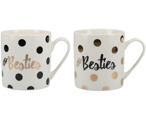 Kaffeetassen-Set Besties, 2-tlg., Weiß, Schwarz, Goldfarben