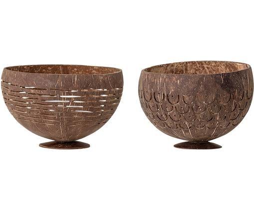 Komplet miseczek Koko, 2 elem., Łupina kokosa, Brązowy, Ø 15 cm