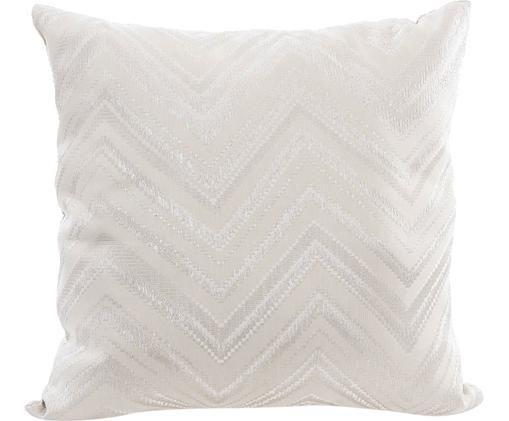 Cuscino con imbottitura e motivo a zigzag Rayado, Poliestere, Crema, argentato, Larg. 45 x Lung. 45 cm