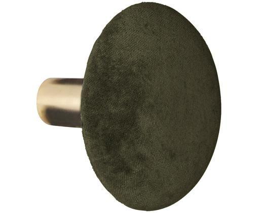 Gancio da parete in velluto Helene, Ottonato, verde oliva