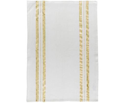 Canovaccio con dettagli dorati Corinne, Cotone, Bianco dorato, Larg. 50 x Lung. 70 cm