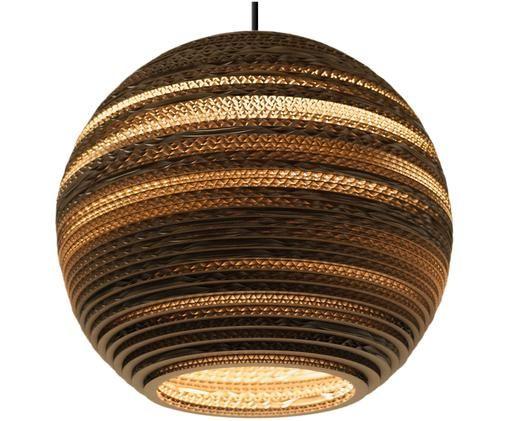 Lampa wisząca z tektury falistej z recyklingu Moon, Klosz: brązowy Osłona mocowania sufitowego: czarny, Ø 36 x W 31 cm