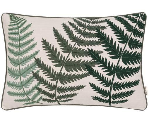 Federa arredo  ricamata Fern Leaf, Cotone, Fronte: crema, verde Retro: verde Fascia di stoffa: verde, Larg. 40 x Lung. 60 cm
